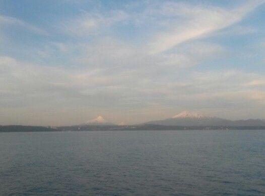 Tres volcanes, Calbuco, Osorno, Puntiagudo. Desde Puerto Montt