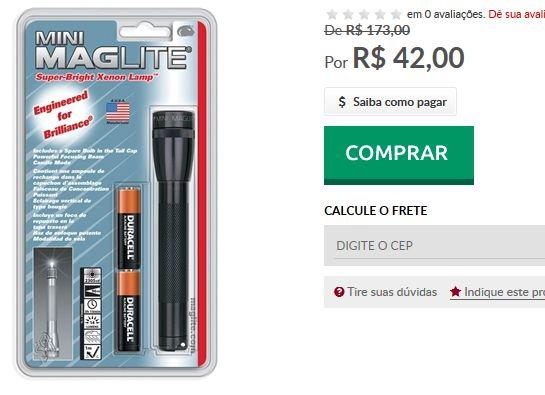 Lanterna Mini Maglite Preta com Blister  2 Pilhas Duracell AA << R$ 4200 >>