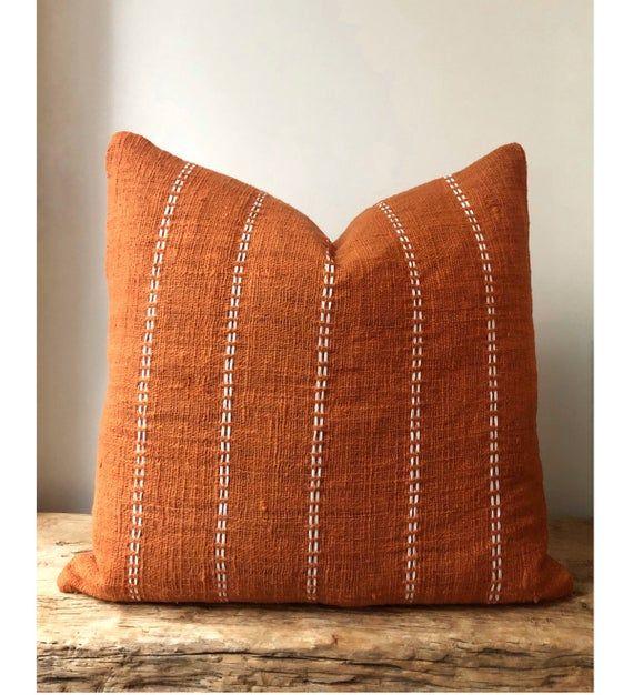 Large Burnt Orange Pillow With Stitch Detail Organic Natural Boho