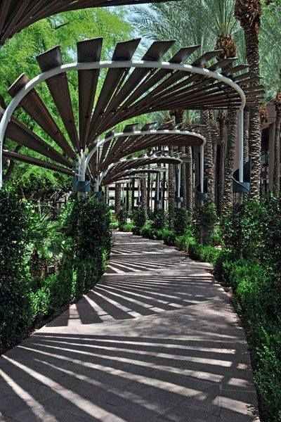 Great use of shadows in this arched walkway, downtown Phoenix, Arizona. -The LA Team www.landarchs.com