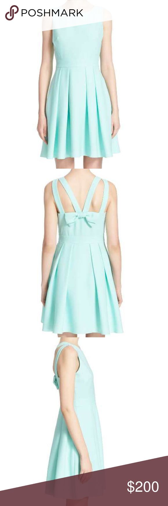 Kate Spade bow back dress-size 14 NWT-mint color Brand new kate Spade bow back crepe fit and flare dress-size 14-NWT color is mint liqueur kate spade Dresses