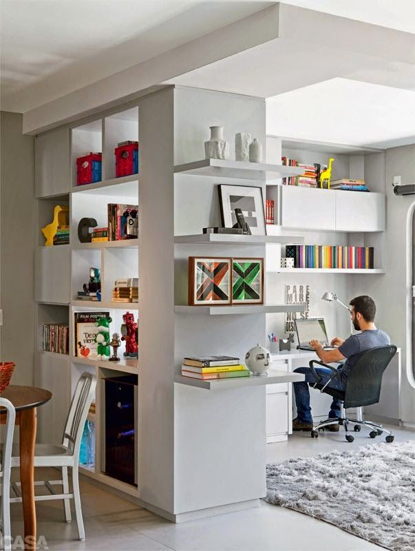 home office separated by builtin divider office separated from other room