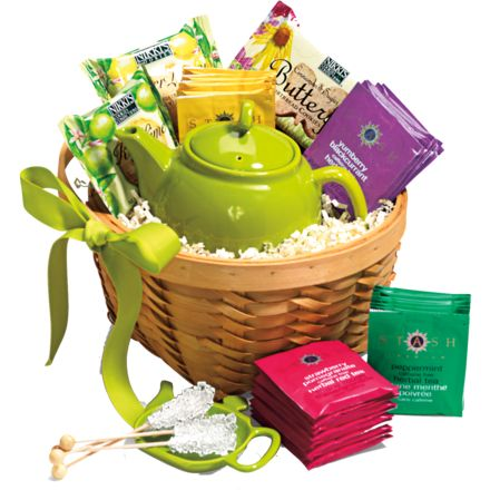 Tea Lover Basket (tea pot, tea cup, various teas, tea strainer, stir sticks, etc)
