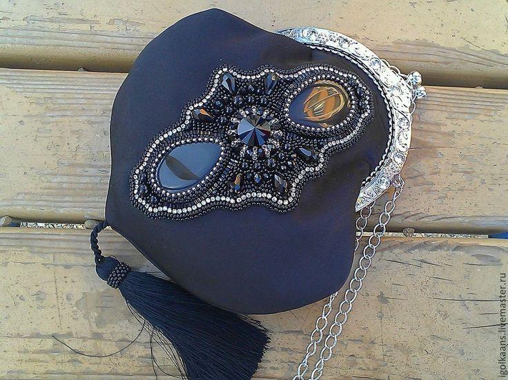 """Купить Вечерняя сумочка """"Торжество"""" - чёрный, однотонный, вечерняя сумочка, театральная сумочка, Вышивка бисером"""
