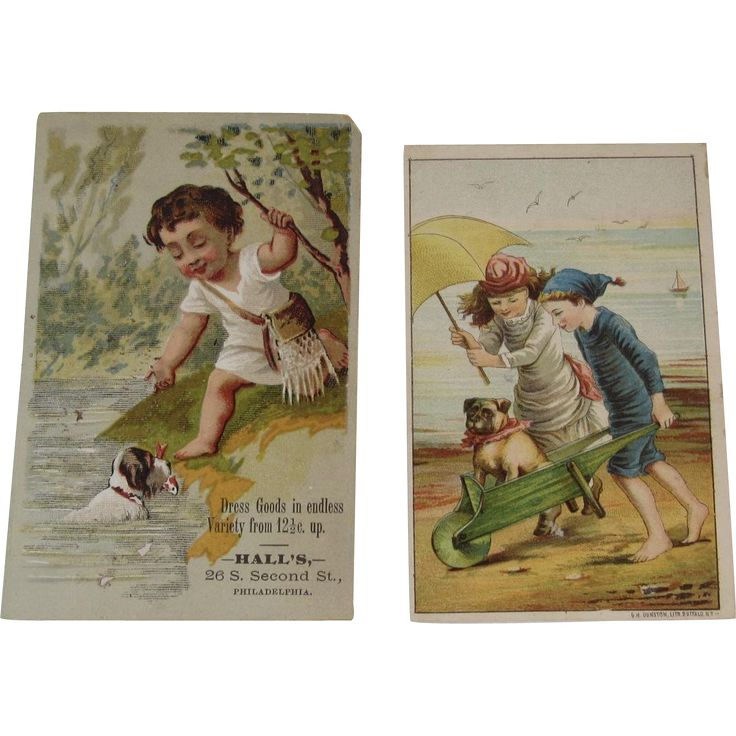2 Dog & Children Victorian Trade Cards Sulky Hay Rakes and Dress Goods Bulldog at the Beach in a Wheelbarrow