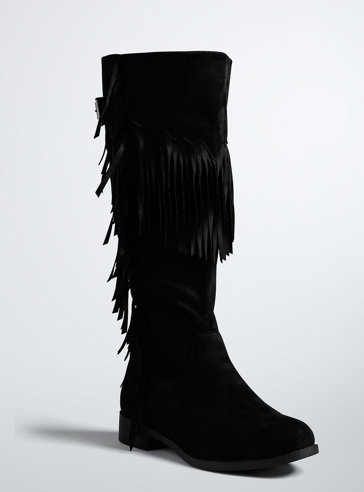 Plus Size Wide Calf Boots Tall Fringe Boots Wide Width