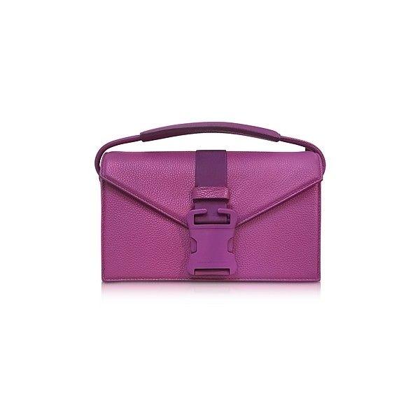 Christopher Kane Handbags Purple Grained Leather Devine Og Bag ($1,220) ❤ liked on Polyvore featuring bags, handbags, shoulder bags, purple, man bag, buckle purses, purple shoulder bag, shoulder hand bags and handbag purse