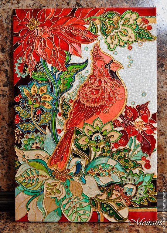 Купить Рождественское панно - ярко-красный, керамическая плитка, Витражная роспись, витражные краски