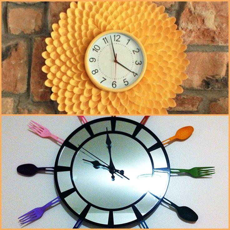 AllHome DIY ideas use plastic spoons to make wall clocks interesting