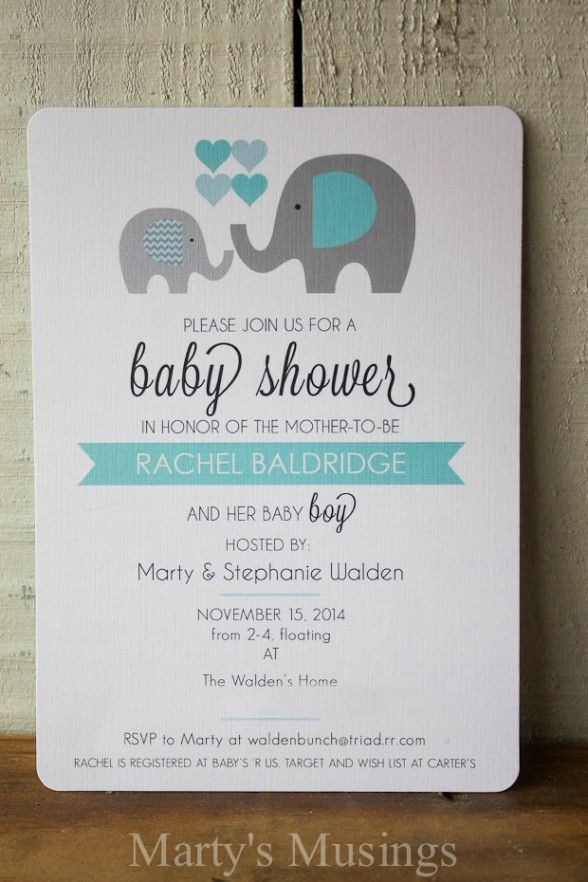 Baby Shower Invitations : Free Printable Elephant Theme Baby Shower Card Invitations with Square Shape Card and Black Note Wording featuring White Paper Art Material Design - Homemade Baby Shower Invitations Ideas