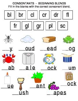 Printables Beginning Blends Worksheets 1000 images about consonant blends on pinterest initials words this reading worksheet are not complete students choose the correct beginning from boxes and write them to complete