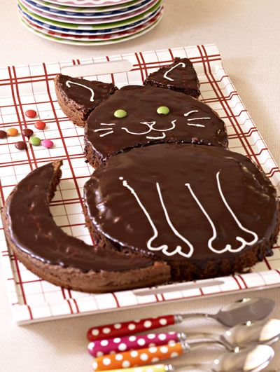 Gâteau d'anniversaire au chocolat en forme de chat !
