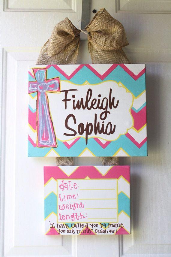 baby hospital door decorations, Baby Hospital door hanger, newborn hospital door wreath, birth announcement canvas on Etsy, $35.00