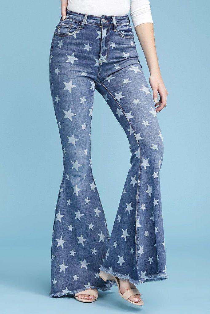 Ole Starlight Star Bright Star Printed Denim Bell Bottom Flare