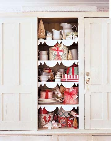 Easy and beautiful way to dress up your cupboard for the holidays! Trim the shelves with ppaper cut into a scallop design, attach with double sided tape. Old newspaper or pages from a vintage book cut into trim would be pretty too!: Christmas Time, Christmas Cabinet, Xmas, Country Living, Shelves, Holidays, House, Christmas Ideas