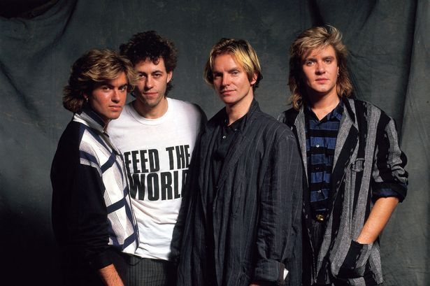 Band Aid behemoths from 1984: (l -r ) George Michael, Bob Geldof, Sting and…