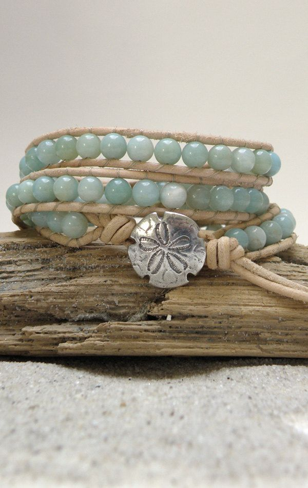 Amazonite & Natural Leather Wrap Bracelet, $42.99, via Etsy.