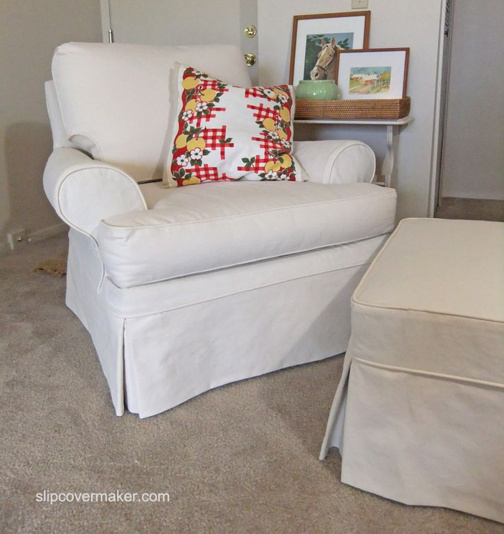 Custom Slipcover For A Sherrill Armchair And Ottoman In