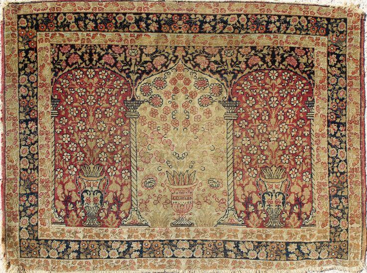 Antique Turkish Hereke Ghiordes Triple Arch Prayer Rug Ca 1880