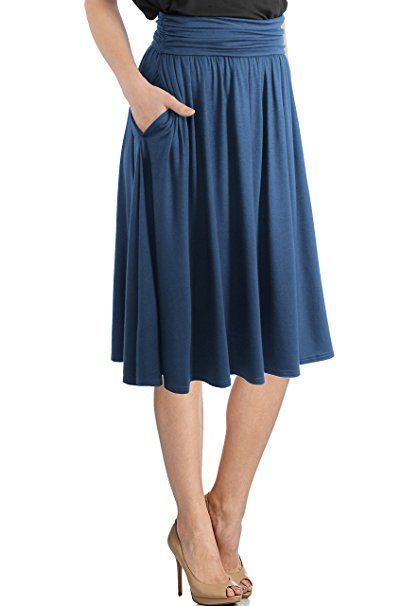 d6b7464a555a30 TRENDY UNITED Women's Rayon Spandex High Waist Shirring Flared Pocket Skirt  at Amazon Women's Clothing store: