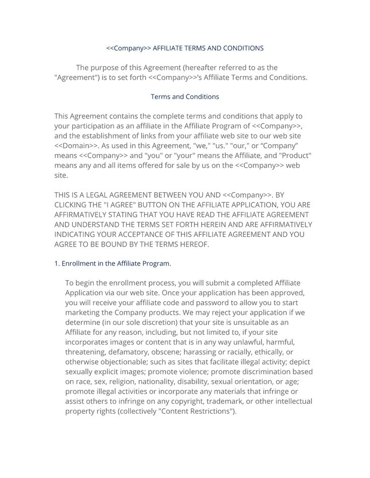 Free Templates 2018 » affiliate program terms and conditions ...