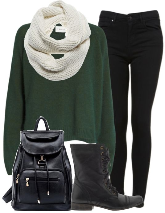 32a7aa64d9 Eleanor Calder Inspired Outfit for Studying with Friends Jumper   Jeans    Boots   Scarf   Backpack