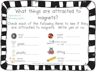 recording sheet for magnet sorting activity   3rd Grade Grapevine