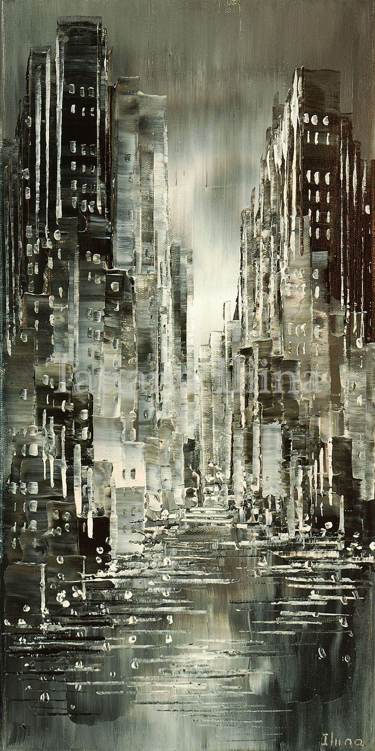 Damp and Drizzle, original Tatiana iliina black and white cityscape painting