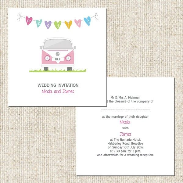Buy Campervan Day Invitation Open Out & lots of matching stationery from www.treeofhearts.co.uk