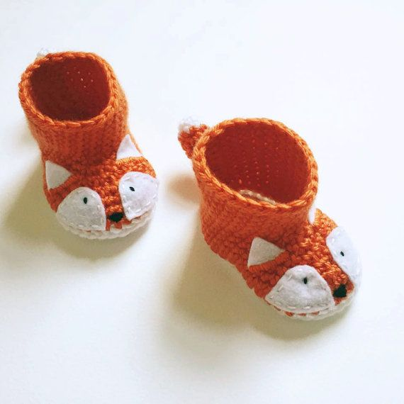 Animal Fox Baby Booties - Crochet Baby Shoes - Fox Themed Baby Shower Gift - Fox…