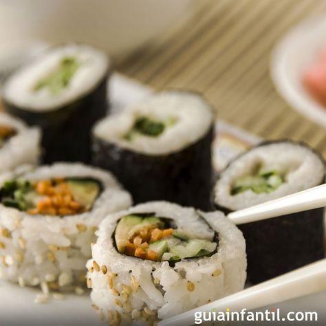 Receta de sushi para niños. Cómo hacer sushi para los niños. recetas japonesas para niños. Receta tradicional japonesa de sushi. Sushi japonés para niños. Recetas de pescado para niños.