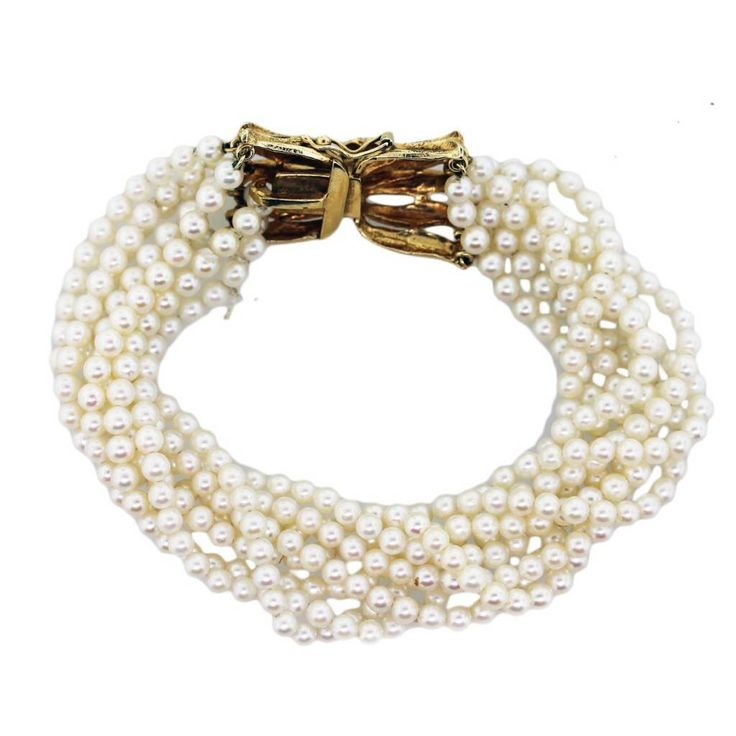 14K Yellow Gold, Sapphire and Cultured Pearl Multi-Strand Bracelet - Raymond Lee Jewelers