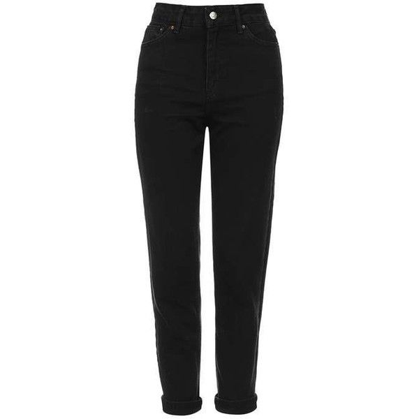 MOTO Black Mom Jeans - Jeans - Clothing - Topshop ❤ liked on Polyvore featuring jeans, topshop jeans and topshop