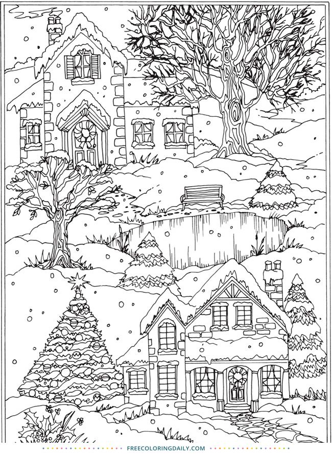 Free Coloring Page Snowy Village Coloring Pages Winter