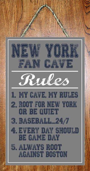 "New York Yankees MLB Fan Cave Rules 10""x16"" Art Basement Man Cave Wall Sign"