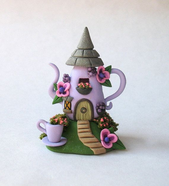 Miniature  Charming  Fairy Teapot Cottage House by ArtisticSpirit