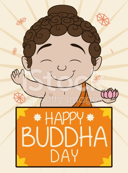 Cute Buddha Holding a Lotus and Greeting Banner for Vesak