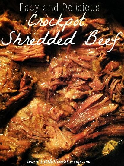 Save time and money by making an easy Shredded Beef recipe in your crockpot! This also includes a meal idea for Shredded Beef Tacos, yum!
