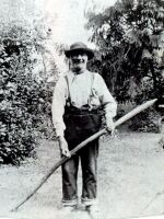 Description: Posed photograph of a family gardener in his working clothes, c1890.  Historical Note: Although Edwardian England was the most urban nation in the world many of the upper classes and the middle classes kept a link with the rural past by maintaining estates or gardens. These were used for leisure and were on such a scale as to require the employment of dedicated workers.