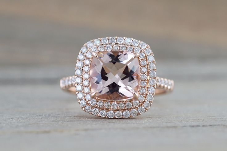14k Rose Gold Cushion Pink Peach Morganite Diamond Double Halo Engagement Promise Ring Rope Bead Vintage