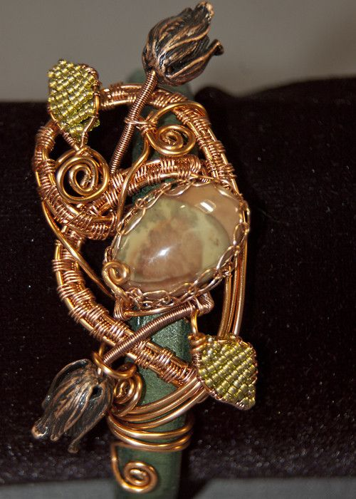 Leather Band, Copper Wire Woven bracelet with Imperial Jasper Focal - Simply Unique Jewelry - 1