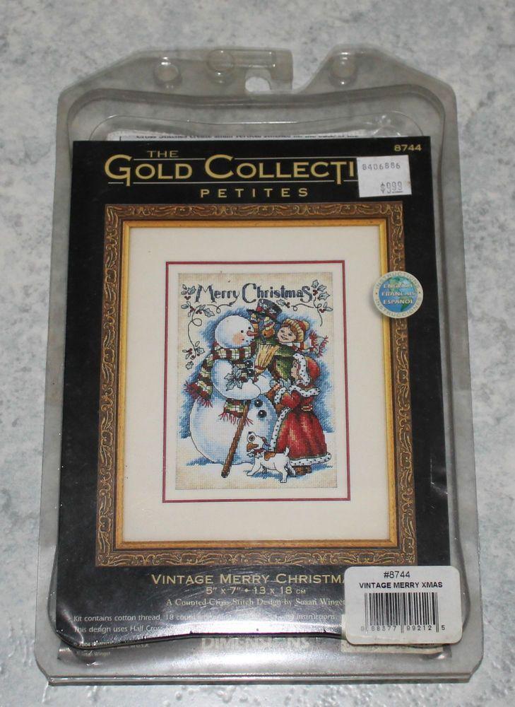 Vintage Merry Christmas - NIP RARE Dimensions cross stitch kit in Crafts, Cross Stitch, Cross Stitch Kits   eBay
