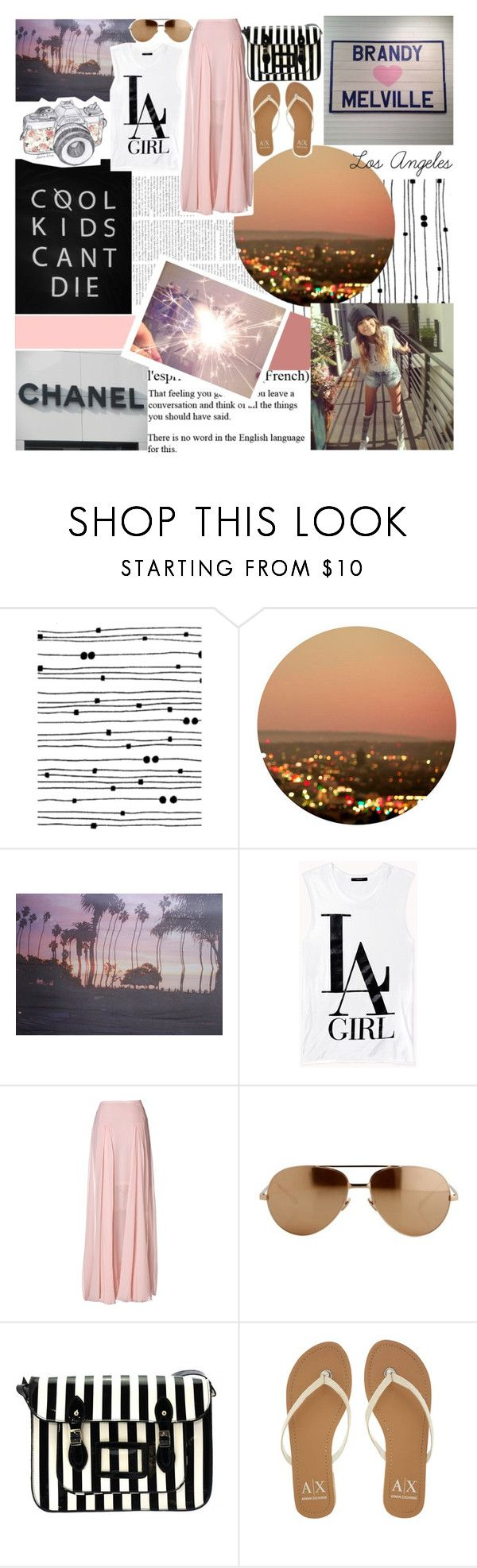 """BOTC~Los Angeles Dreams"" by mayaml18 ❤ liked on Polyvore featuring Dead Castle Project, 813 Ottotredici, Forever 21, By Malene Birger, Linda Farrow, Armani Exchange, vintage and toofabulous"