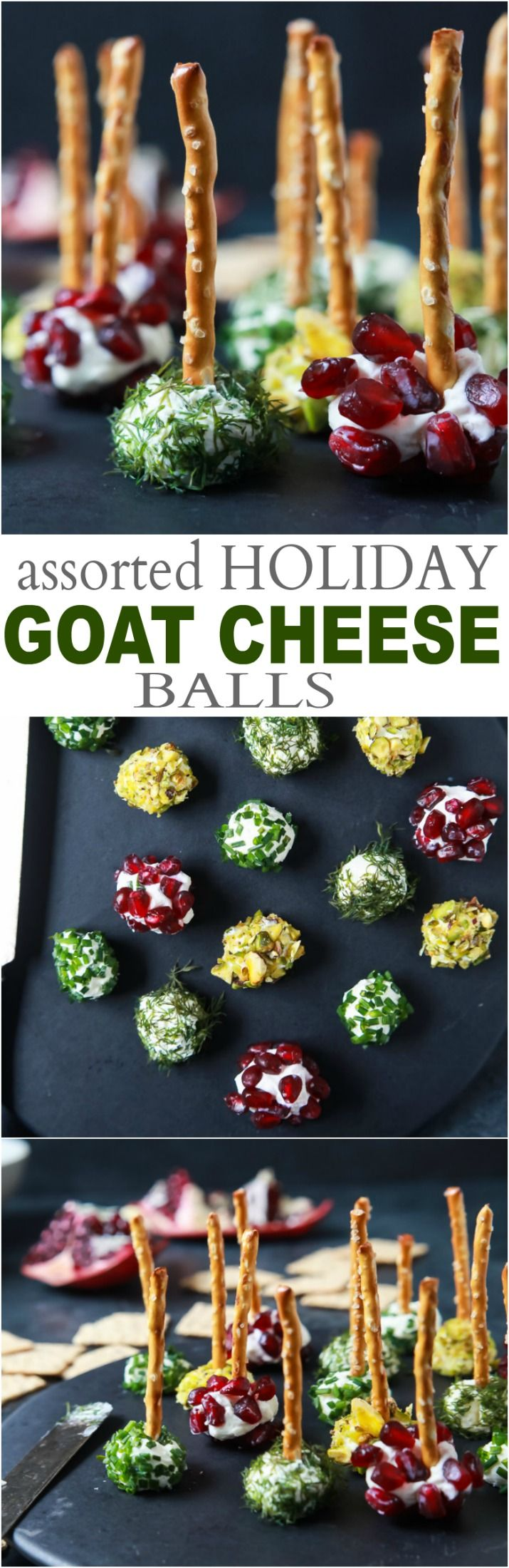 Everyone loves a good cheese ball, but your guest will fall in love with these Assorted Holiday Goat Cheese Balls coated with a combination of fresh dill, chives, pistachios, and pomegranate seeds! | joyfulhealthyeats.com #appetizer #ad #holiday