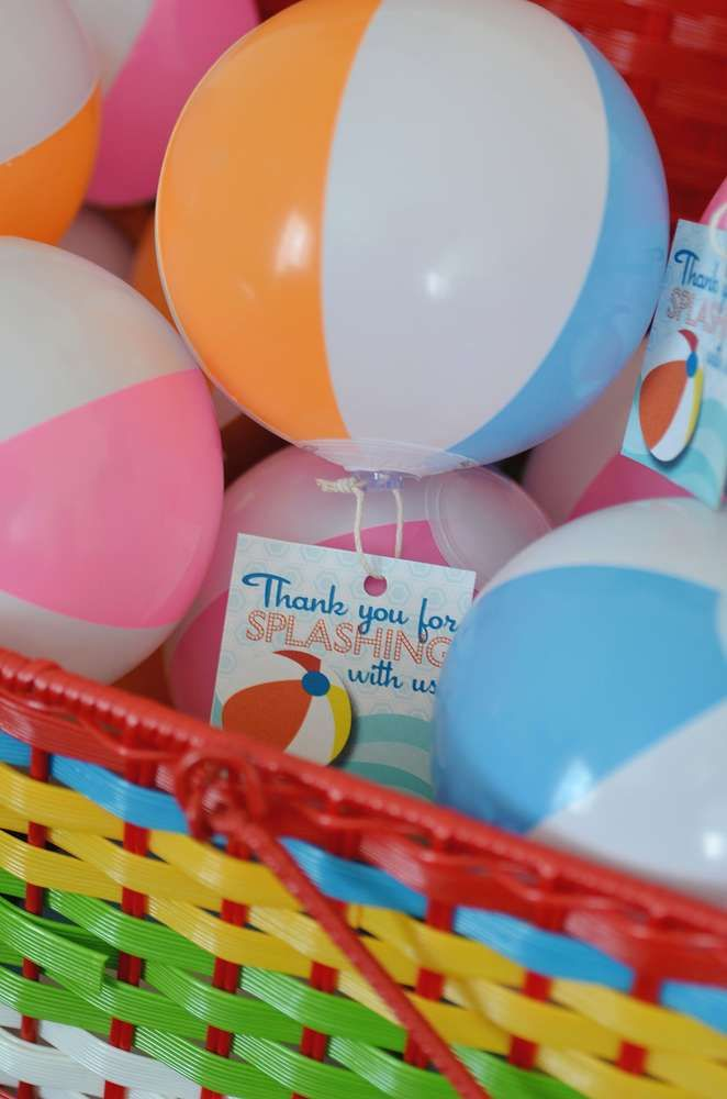 Beach ball birthday party favors!  See more party planning ideas at CatchMyParty.com!