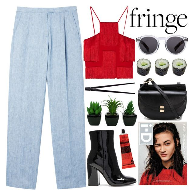 """""""SPINNING AROUND"""" by evangeline-lily on Polyvore featuring Versace, MSGM, Gianvito Rossi, Chloé, Illesteva, Aesop, CB2, fringe, zara and chloe"""
