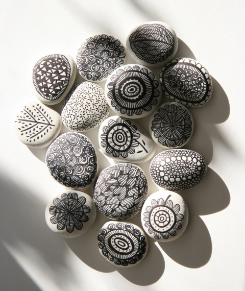 Drawing on river stones