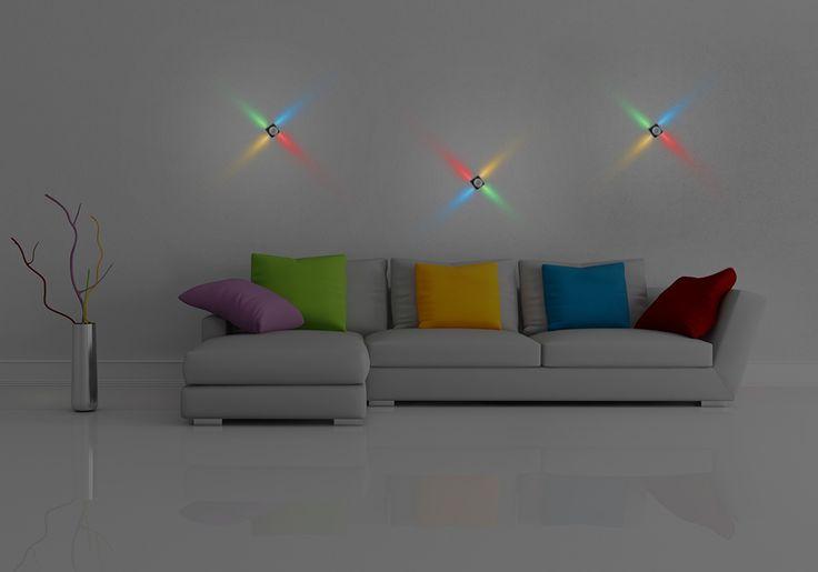 Интерьер в стиле минимализма стоит дополнить яркими цветами. Обратите внимание на светодиодные интерьерные светильники LS-004 4PLT 4W (RGBY).  Покупайте в нашем интернет-магазине: http://goo.gl/omYMuX  #светильники #дизайн #интерьер #декор #освещение