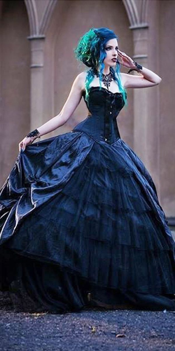 victorian gothic corset black ball gown sweetheart neckline wdding dresses