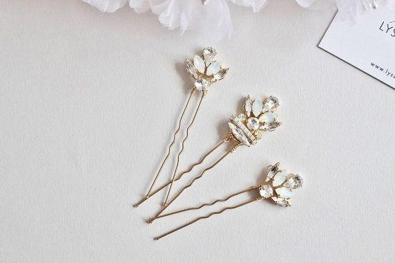 Set of 3 Art Deco Hair  Pins - White Opaline and Clear Crystal Rhinestones -Gold  Bridal  Bun Pins -  Wedding Hair style -